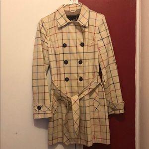 Rainbow plaid Coach trench coat